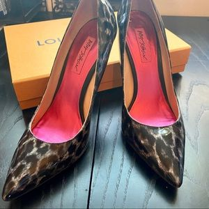 Betsey Johnson Patent Leather Cheetah Print Pumps